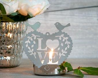 Love Bird Tea Light Holder, Large Tea Light Holder for Table Decor, Pretty Silver Finish Heart Tea Light Holder for Summer Weddings