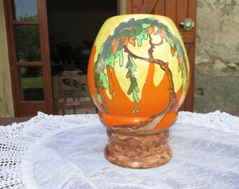 """Wilkinson Ltd Art Deco """"Memory Lane"""", Large Ceramic Hand Painted Vase.  English 1930s.  Clarice Cliff Married Wilkinson  &  Influence."""