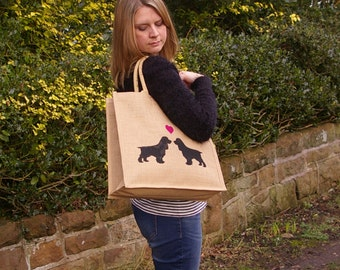 Spaniel love dog hand painted jute shopping bag- large. english springer cocker spaniel bag, dog silhouette. Dog lover gift.