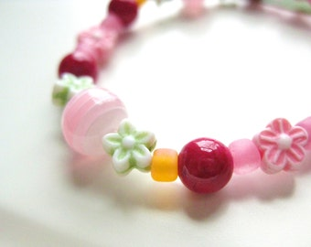 Pink, Green and Orange Girls Bracelet with Flowers, Small Girls Bracelet, GBS 102