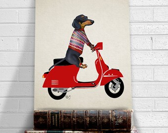 Dachshund Wiener dog art print - Dachshund on Moped - doxie print dachshund wall art Dachshund print art for kids room funny Office décor