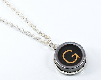 Typewriter Key Necklace- Letter G Upcycled Steampunk Jewelry, Silver G Initial Necklace, G Pendant Necklace, Monogram Necklace, Writer Gift