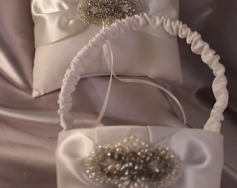 White Ring Bearer Pillow and Flower Girl Basket with Pearls and Beading
