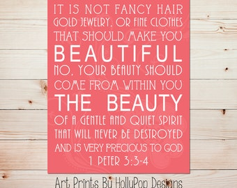 It is not fancy Hair 1 Peter 3 3:4 Art Print Girls Room Wall Decor Nursery Decor Home Decor Art Print Beauty comes from within quote #0681