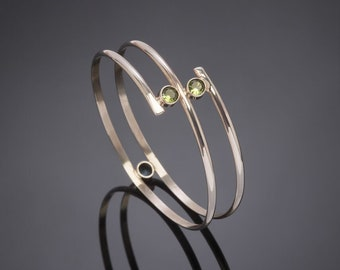 Sterling Silver Bangle With Lab Created Birthstone