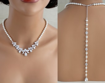 Bridal Backdrop necklace, Pearl Wedding necklace, Back drop necklace, Bridal jewelry, Back necklace, Pearl necklace, Crystal necklace