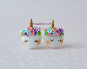 Unicorn earrings, fantasy earrings, polymer clay earrings, rainbow earrings,  magical jewelry, unicorn jewelry, kawaii earrings, cute horse