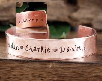 Personalized Mother Bracelet, Mommy Bracelet, Custom Copper Bracelet, Mothers Day Gift, Gift for Mom, Mother's Jewelry, Name Bracelet