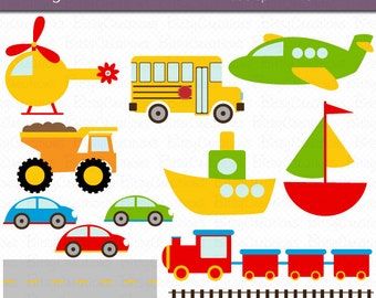 Transportation Digital Art Set Clipart Commercial Use Clip Art INSTANT DOWNLOAD Car Truck Train Airplane Clipart
