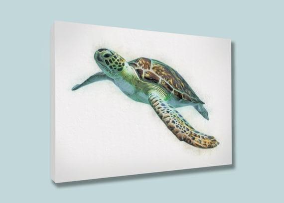 Sea Turtle Wall Art Swimming Sea Turtle Canvas Sea Turtle