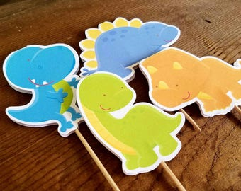 Dino Friends Party - Set of 12 Assorted Dinosaur Cupcake Toppers by The Birthday House