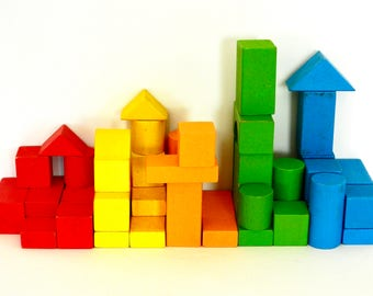 Colorful Vintage Wooden Block Toys