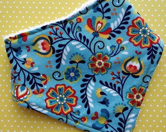 Cotton or bamboo bandana dribble bib (choose backing fabric) - blue floral