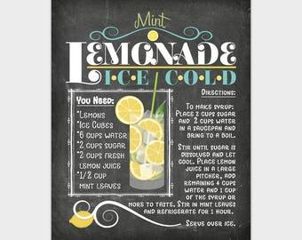 Lemonade Chalkboard Sign, Chalkboard Kitchen Printable, Recipe Kitchen Poster Mint Lemonade Wall Art Print 8x10 11x14 16x20 Instant Download