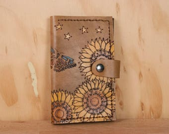 Leather Wallet - Small Womens Wallet with Coin pocket in the Celestial Pattern - Sunflowers, Butterflies and Stars in antique brown