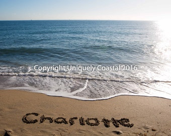 Name in Sand, Baby Girl Gift, Personalized Artwork, Beach, Nursery Decor - Charlotte