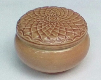Handmade carved Peach Colored Lidded Jewelry Box