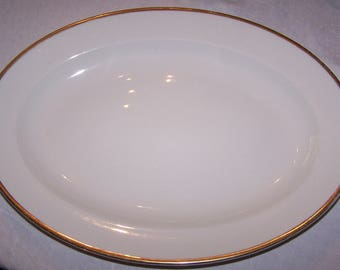Antique W H Grindley & CO Serving Platter The Marengo White with Gold Trim