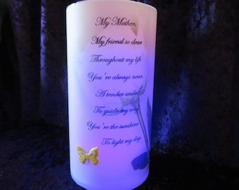 Mother's Day Candle - With verse - My Mother, My Friend - LED candle - custom verse can be added