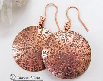 Big Bold Copper Earrings, Round Dangle Earrings, Large Textured Metal Earrings, Handmade Solid Copper Jewelry, Exotic Bold Statement Jewelry