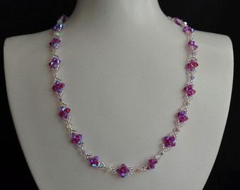 Swarovski crystal necklace fuschia ab2x purple pink and crystal ab2x white