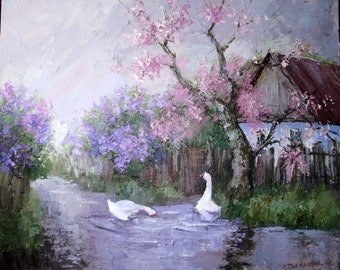 Spring countrysyde original oil painting on canvas. Geese on a village street. Blooming trees. Old house. Impressionism  Spring Landscape