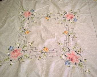 Vintage Tablecloth - Square - Cream - Handmade and Embroidered