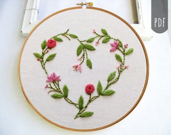 PDF Hand Embroidery Pattern Valentine Botanical Heart with flowers and Leaves Hand Stitching DIY Craft