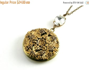 25%OFFSALE Floral Filigree Locket Pendant, Victorian Style Locket Necklace, Large Round Locket