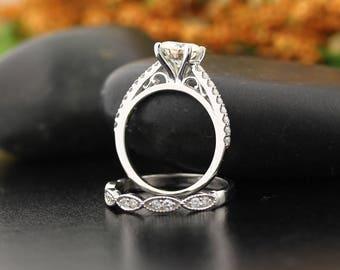 6.5mm Forever One Moissanite Engagement Ring & Diamond Wedding band set, Art deco wedding band,Vintage style In 14k White Gold, Gem1403