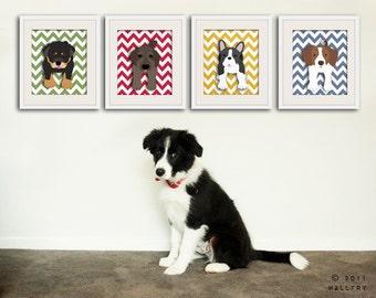Chevron nursery decor. ANY 4 Custom dog art prints. kids wall art, kids decor. Dog nursery children decor. 4 art prints by WallFry