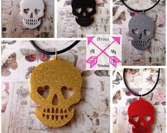 Glitter skull necklace, Laser cut skull necklace, Skull necklace, Alternative jewellery, Jewellery, Necklace, Glitter necklace,