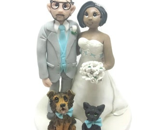 Custom wedding cake topper, personalized cake topper, Bride and groom cake topper, Mr and Mrs cake topper, Interractial cake topper