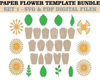 ALL Paper Flower Template Bundle=18 petal templates+8 leaf templates+6 paper flower centers
