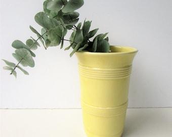 Vintage Yellow Pottery Vase Mid Century Modern Vintage Yellow Ribbed Vase -  Simple Ribbed Ceramic Vase in Yellow - Mid Century Ceramic Vase