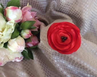 Flower 7 cm Red Satin with black beads