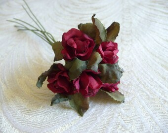 Small red roses etsy 1 bunch tiny vintage roses small romance red silk rose buds millinery flowers for crafts dolls mightylinksfo