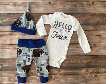 Little Dreamer Woodland Coming Home Outfit, Woodland, Fox, Camping, Southwest, blue and gray, baby name outfit, baby boy outfit, baby shower