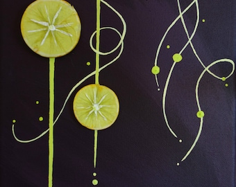 Abstract painting / abstract decorative painting - lemon