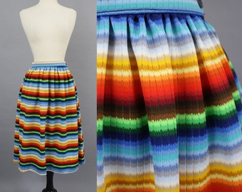 vintage 70s Rainbow Striped Hippie Gathered Midi Skirt / 1970s Boho Angelica Mexican Stripe Colorful Ribbed Skirt / Extra Small XS