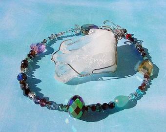 SALE Chunky Quartz Crystal  on Faceted Beaded Strand Suncatcher, Ornament, Power Stone 12f106