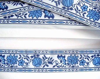 Dutch Delft Blue Ribbon - Flowers - One yard
