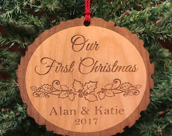 Custom Our First Christmas Ornament, Personalized Christmas Gift, Engraved Wooden Christmas Ornament