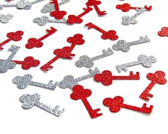 Valentine's Day Confetti 100CT, Glitter Silver and Red Key Confetti, Bridal Shower Decor, Birthday, Baby Shower - No882