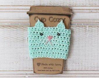 SALE Ready to Ship: Aqua Kitty Cup Cozy Crochet Cup Cozy Mint Cat Coffee Cozy Crochet Mug Cozy Reusable Cup Sleeve Stocking Stuffer Under 10