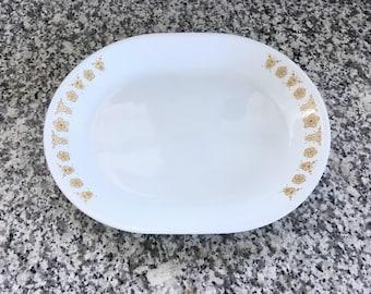 Vintage Butterfly Gold Serving Platter * Pyrex Compatibles * Corelle