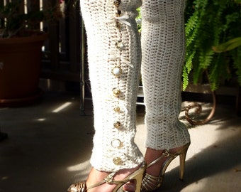 Button Leg Warmers in Ivory - Over-the-Knee Leggings - Lots of Colors by Mademoiselle Mermaid