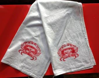 Block Print Crab Tea Towel