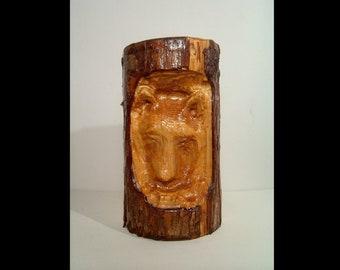 Live edge wood hand carved wolf or bear ~ woodcraft ~ burl rustic carving hanging garden yard decor ~ tree log animal ~ cedar fir wooden