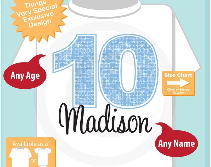 Tenth Birthday Shirt, Light Blue 10 Birthday Shirt, Any Age Personalized Girls Birthday Shirt Light Blue Age and Name 08312015b